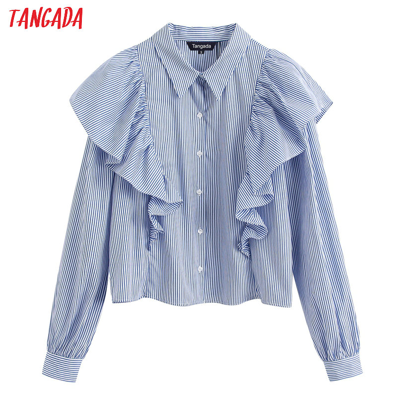 Tangada Women Blue Striped Ruffle Shirts 2020 Spring Fashion Long Sleeve Elegant Office Ladies Work Wear Blouses BE160