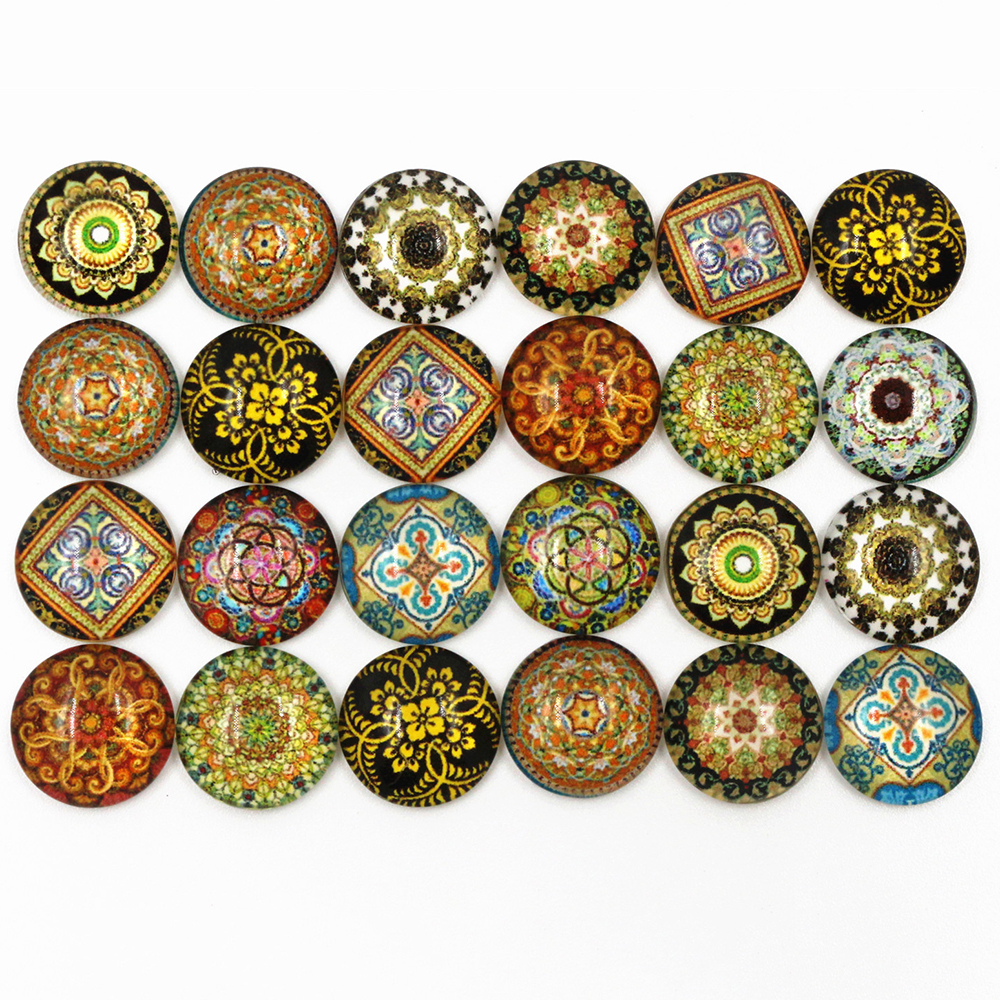 50pcs/Lot 12mm Photo Glass Cabochons Mixed Totem Cabochons For Handmade Bracelet Earrings Necklace Bases Settings-C7-03