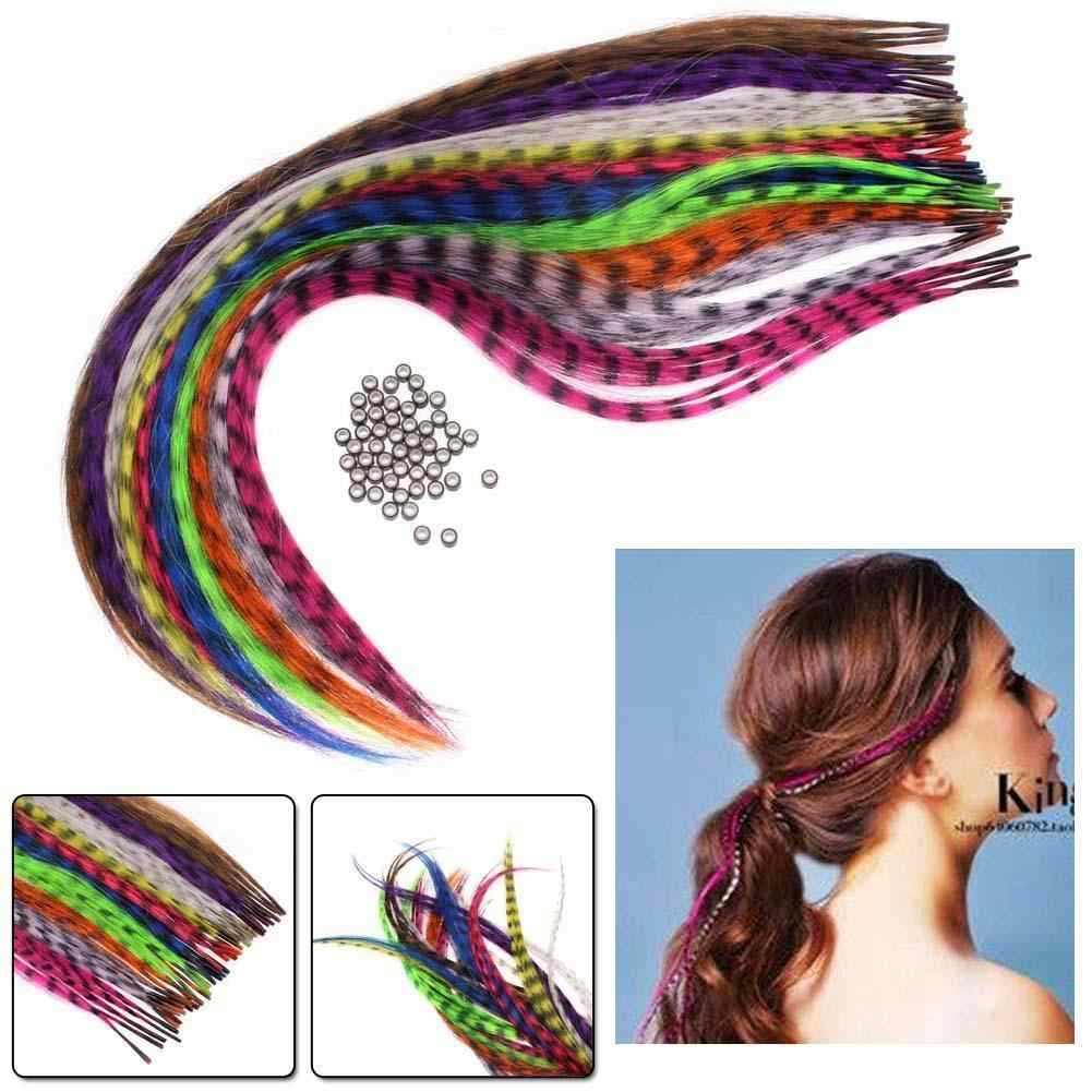 10Pc Headwear Straight Multicolor Synthetic Hair Feathers Extension Party Clothing Hair Accessories
