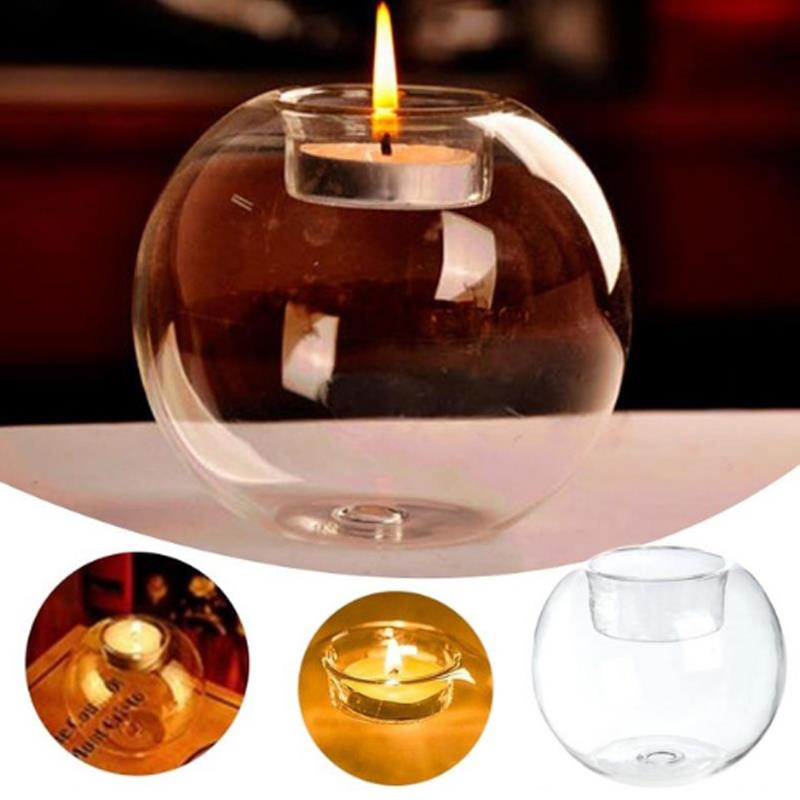 Transparent Candlestick Ornament Table Round Candle Holder Home Glass Hollow Cover Crystal Decoration Wedding Banquet Desktop