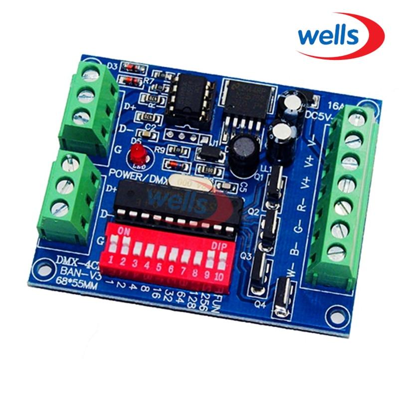 Velkoobchodní 4CH RGBW dekodér DMX Dmx 512, stmívač, ovladač, pohon, DC5V-24V pro LED pásové světlo, lampa