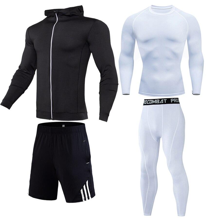 Winter Warm Sports Underwear Sweatshirt Shorts 1-4 Piece Free Combination Gym Jogging Suit Compressed Clothing Track Suit Men