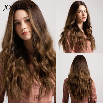 JONRENAU 24 Inches  Long Synthetic Natural Wave Brown Ombre Hair Wigs Heat Resistant Hair Wigs for Black Women 2