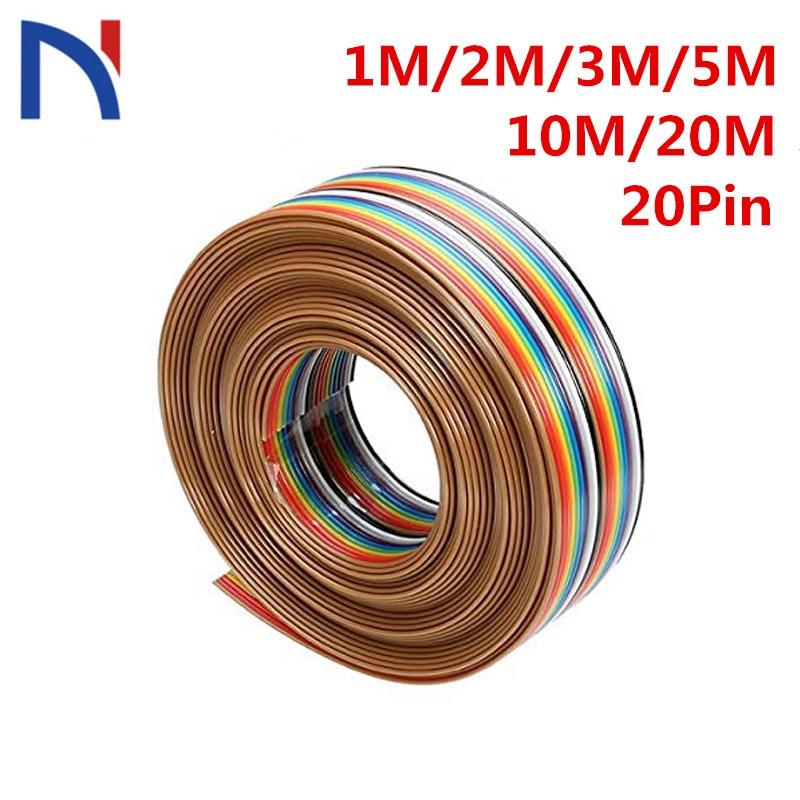 1 м, 2 м, 3 м, 5 м, 10 м, 20 м, 1,27 мм, 20-контактный кабель DuPont, Радужный плоский поддерживающий провод, спаянный кабель, соединительный провод, 20 конта...