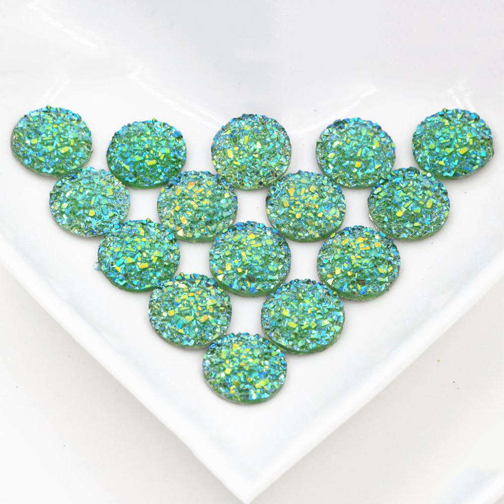 New Fashion 40pcs 12mm Green AB Color Flat Back Resin Flower Cabochons Cameo  G6-12