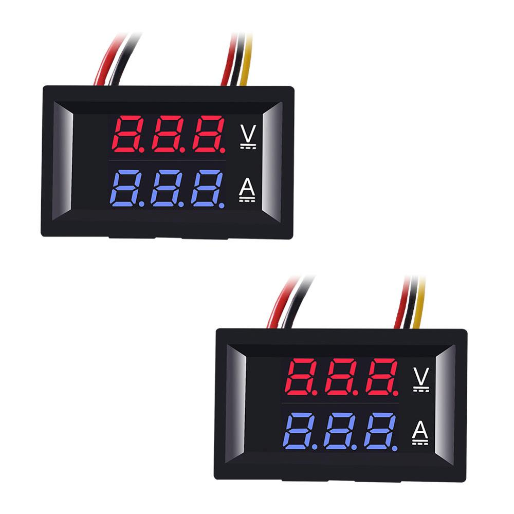 Digital Voltmeter Ammeter Dual Digital Volt Amp Meter Gauge With Lines DC 100V 10A 50A 100A Voltmeter Ammeter LED