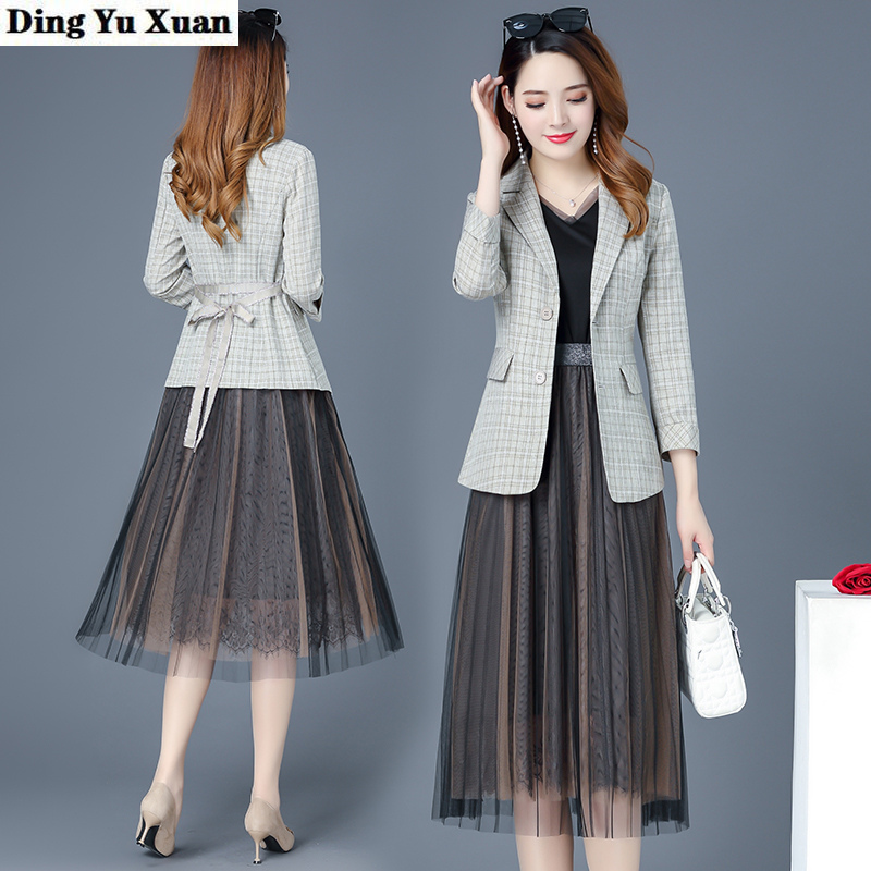 2020 Spring Autumn Blazer Dress Suits Women 2 Piece Set Elegant Plaid Jacket and Knee Length Long Mesh Dresses Women Casual Work