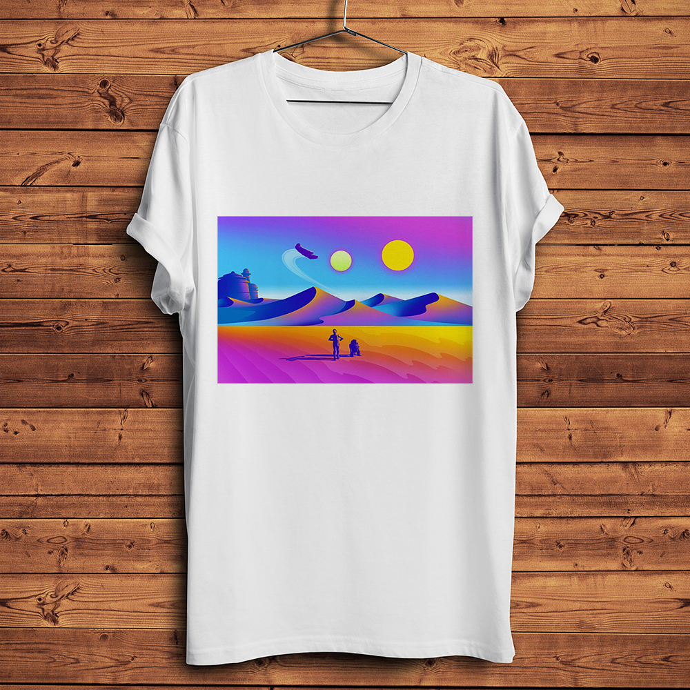 Tatooine Hike Funny T Shirt Men New White Casual Homme Cool Mandalorian Streetwear T-shirt Unisex