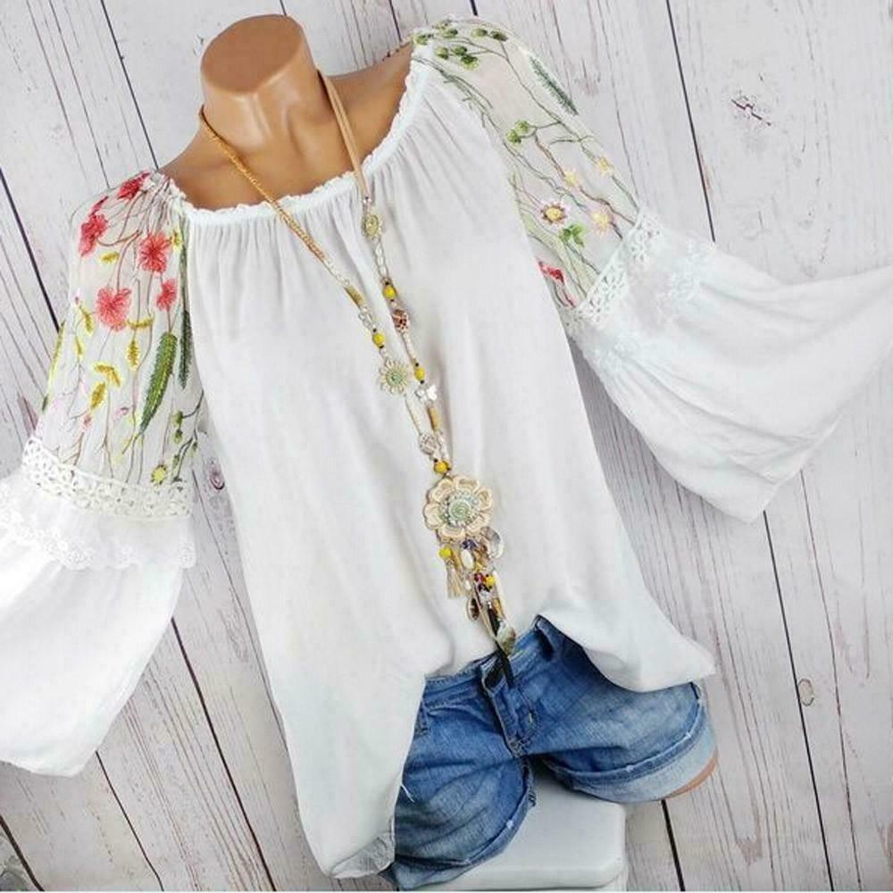Plus Size Summer Women Long Sleeve Kaftan Baggy Blouse Shirt Tops Casual Tunic Plus Size Boho Stitching Embroidered Tops S-5XL