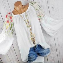 Plus size Summer Women Long Sleeve Kaftan Baggy Blouse Shirt