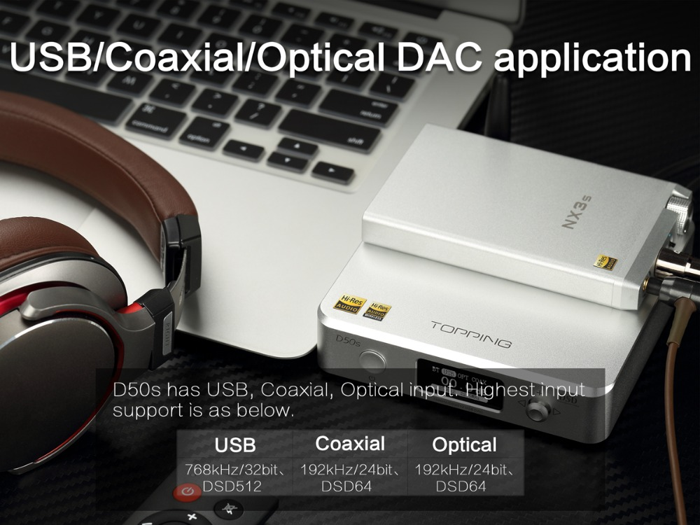 TOPPING D50S Bluetooth 5.0 ES9038Q2M AUDIO Decoding USB DAC-12