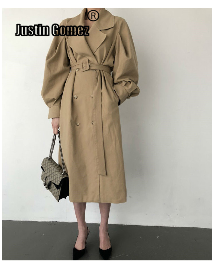 Fashion Puff Sleeve oversized   Trench   Coat Women Double-breasted Winter   Trench   outerwear With Belt Casaco Corta Vento Feminino