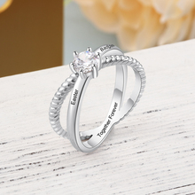Personalized Engraved Meaningful Name Rings for Women Cubic Zirconia Promise For Wedding Band