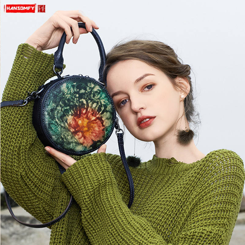 Original design niche retro leather small round bag women handbag  handmade cowhide mini shoulder messenger bags female 2020