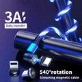 Светодиодный течет свет 540 вращать зарядный Магнитный USB шнур свечение кабель Type-C Магнитный кабель Micro USB зарядного устройства в оплетке для ...