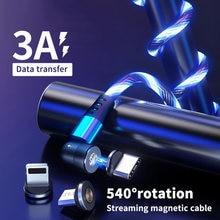 Diodo emissor de luz que flui a luz 540 gira o cabo magnético de carregamento do usb fulgor tipo c cabo cabo magnético micro carregador cabo cabo para iphone