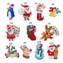 11pcs/set Christmas Series Clothes Patch Embroidery Motifs Applique Iron Sew On Badge DIY Craft