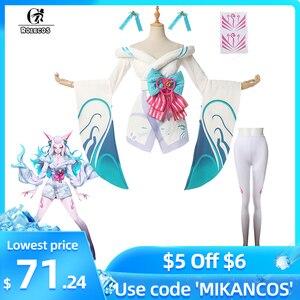 ROLECOS Игра LOL Spirit Blossom Ahri костюмы для косплея сексуальные платья белые костюмы Ahri для женщин косплей платье с брюками комплект