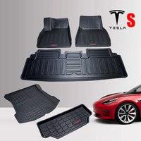 TPO Rubber car Floor mats Trunks mat For Tesla Model S 2014 2018 2019 Car accessories All Weather Waterproof foot floor mats