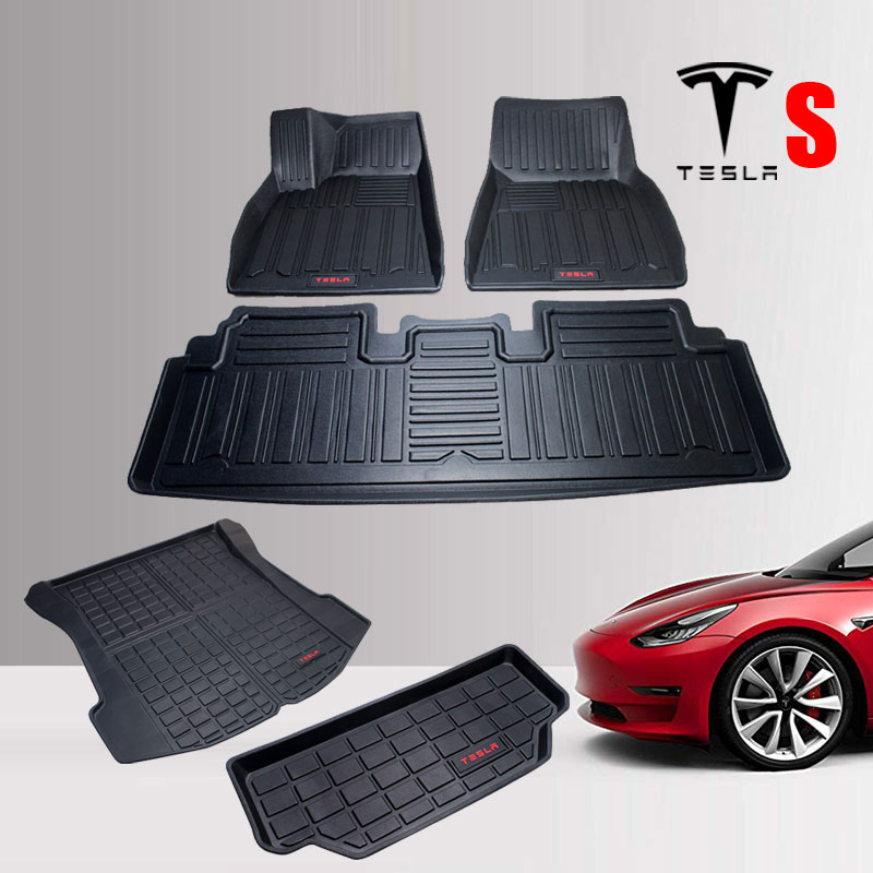 Floor-Mats Car-Accessories Tesla-Model Rubber Waterproof for TPO title=