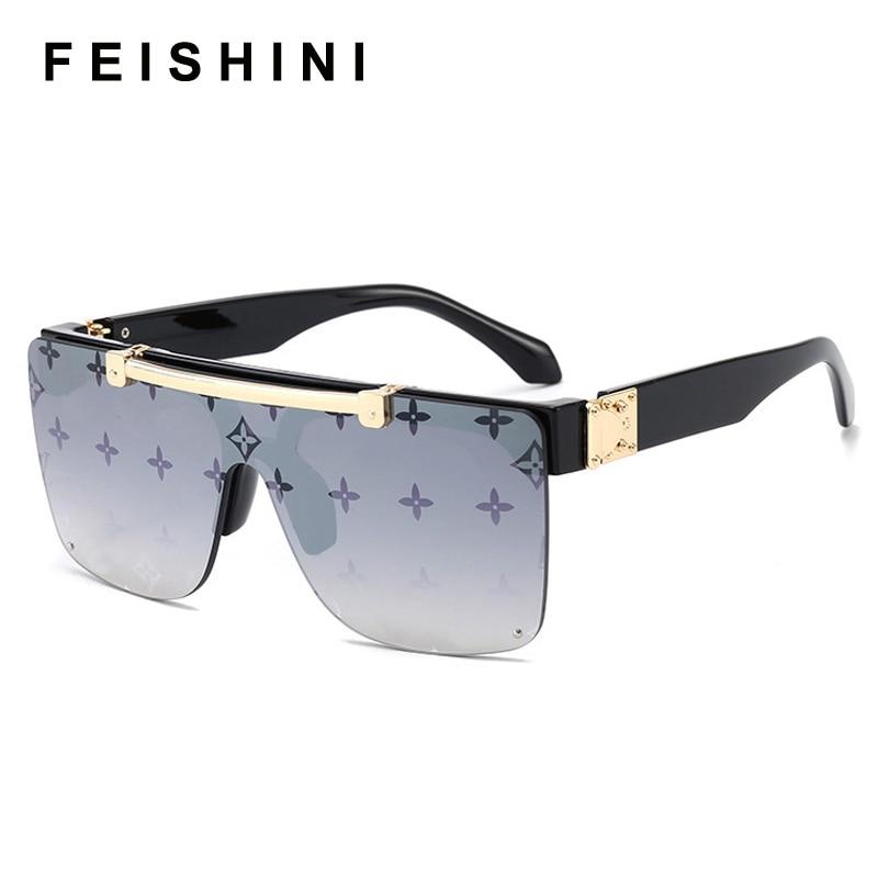 FEISHIN No Logo Fashion Luxury Sunglasses Women Brand Designer Unisex Flip Up Square Steampun Men Sun Glasses Male Shades Cool