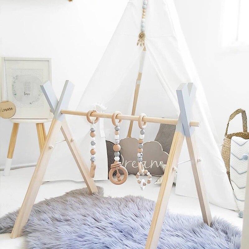 Estilo nórdico, bebé, gimnasio, marco de madera, anillo-pull, campana con estrellas, unicornio, juguete, juego de gimnasio, habitación infantil, niños, decoración del hogar, regalo para recién nacidos