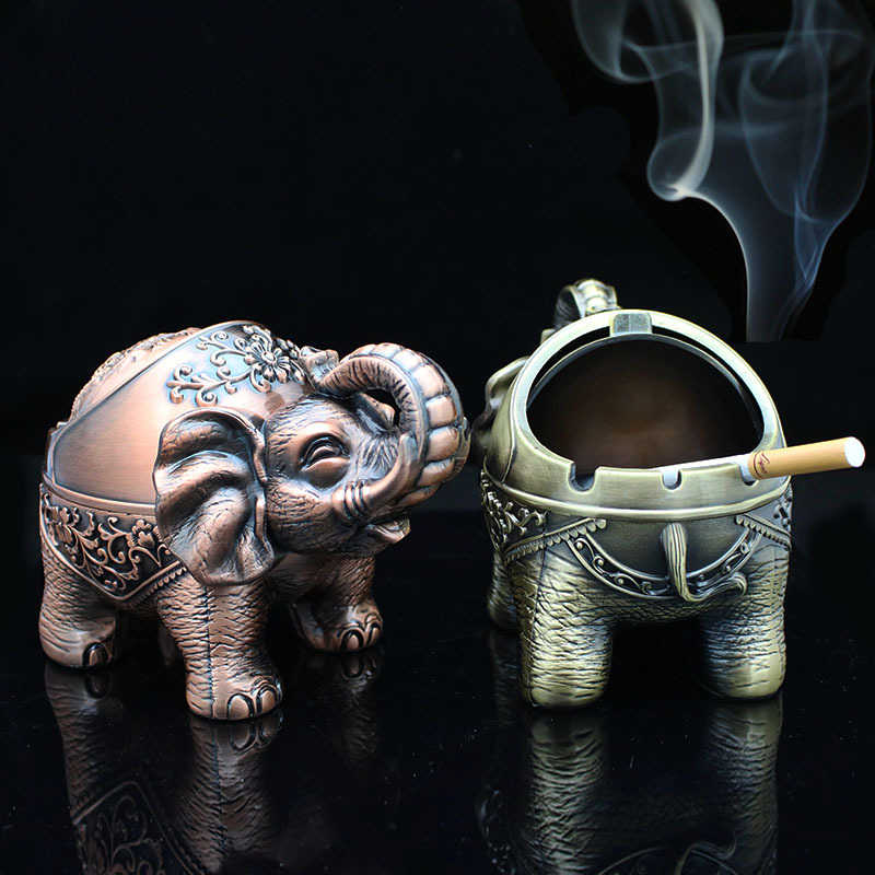 Creative Ashtray Elephant Shaped Metal Seal Ashtray With Lid Anti-fall Windproof Personality Home Decor Ornaments