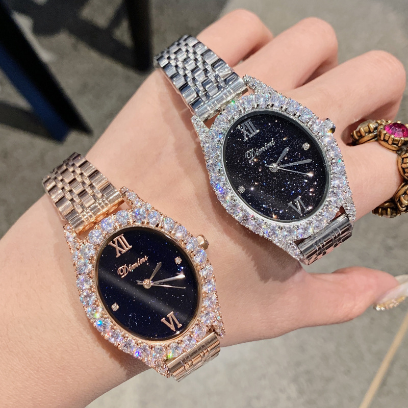Nouvelles femmes montres ovales dame montre à Quartz en or Rose en acier inoxydable strass diamant montres filles femme relogio feminino