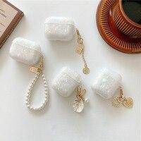 Dreamy Weiß Glänzend Shell Perle Armband Keychain Kopfhörer Weiche fall Für Apple Airpods 1 2 Pro 3 Wireless Headset Box abdeckung