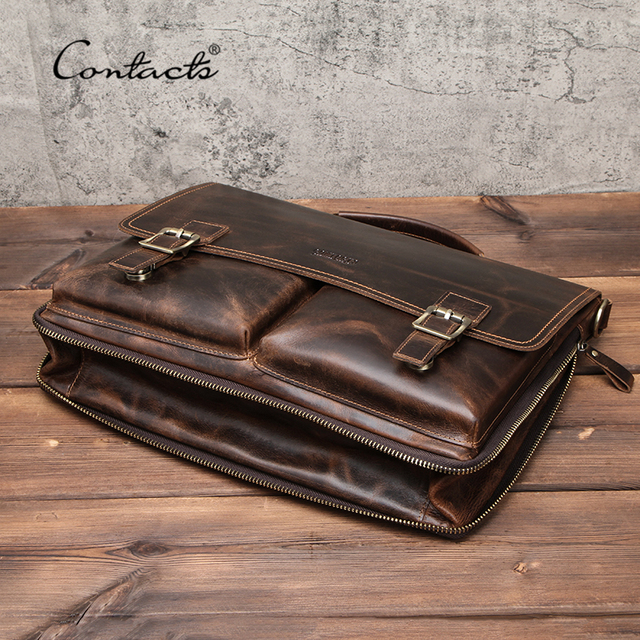 CONTACT'S Men Briefcase Bag Crazy Horse Leather Shoulder Messenger Bags Famous Brand Business Office Handbag for 14 inch Laptop 2