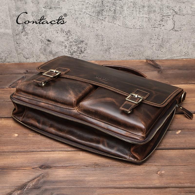 CONTACT'S Men Briefcase Bag Crazy Horse Leather Shoulder Messenger Bags Famous Brand Business Office Handbag For 14 Inch Laptop