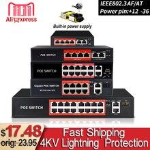 48V POE Ethernet ile 6 RJ45 ağ bağlantı noktası IEEE 802.3 af/protokol için uygun güvenlik kamerası sistemi/Kablosuz erişim noktası