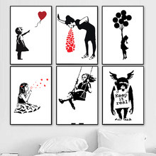 Banksy Graffiti Art Collection Canvas Painting Girl With Red Balloon Black White Wall Art Poster Nordic Living Room Home Decor