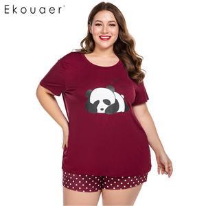 Image 2 - Ekouaer Women Plus Size Pajamas Sets O Neck Short Sleeve Nightshirt and Shorts Home Summer Pajama Set Loungewear