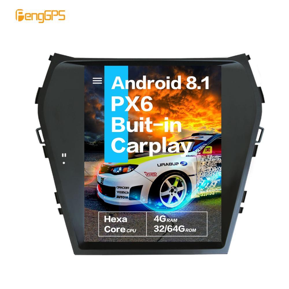 10.4 ''Tesla Android 8.1 PX6 4 + 32GB commande vocale autoradio intégré pour Hyundai Santa Fe ix45 2013-2018 Navigation GPS