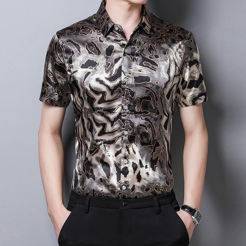 Leopard Shirts Mens Large Size Clothes Stylish Shirts Men Silk Blouse Casual Dresses 2020 Summer Satin Shirts Short Sleeves Club