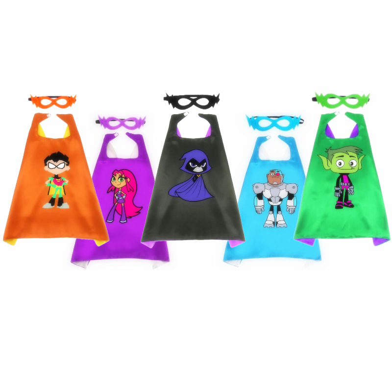 Teen Titans Toys Figure <font><b>Robin</b></font> Beast Boy Starfire Raven Cosplay Cloak Toy + Mask Christmas Halloween Toys For Kids Gifts Toy image