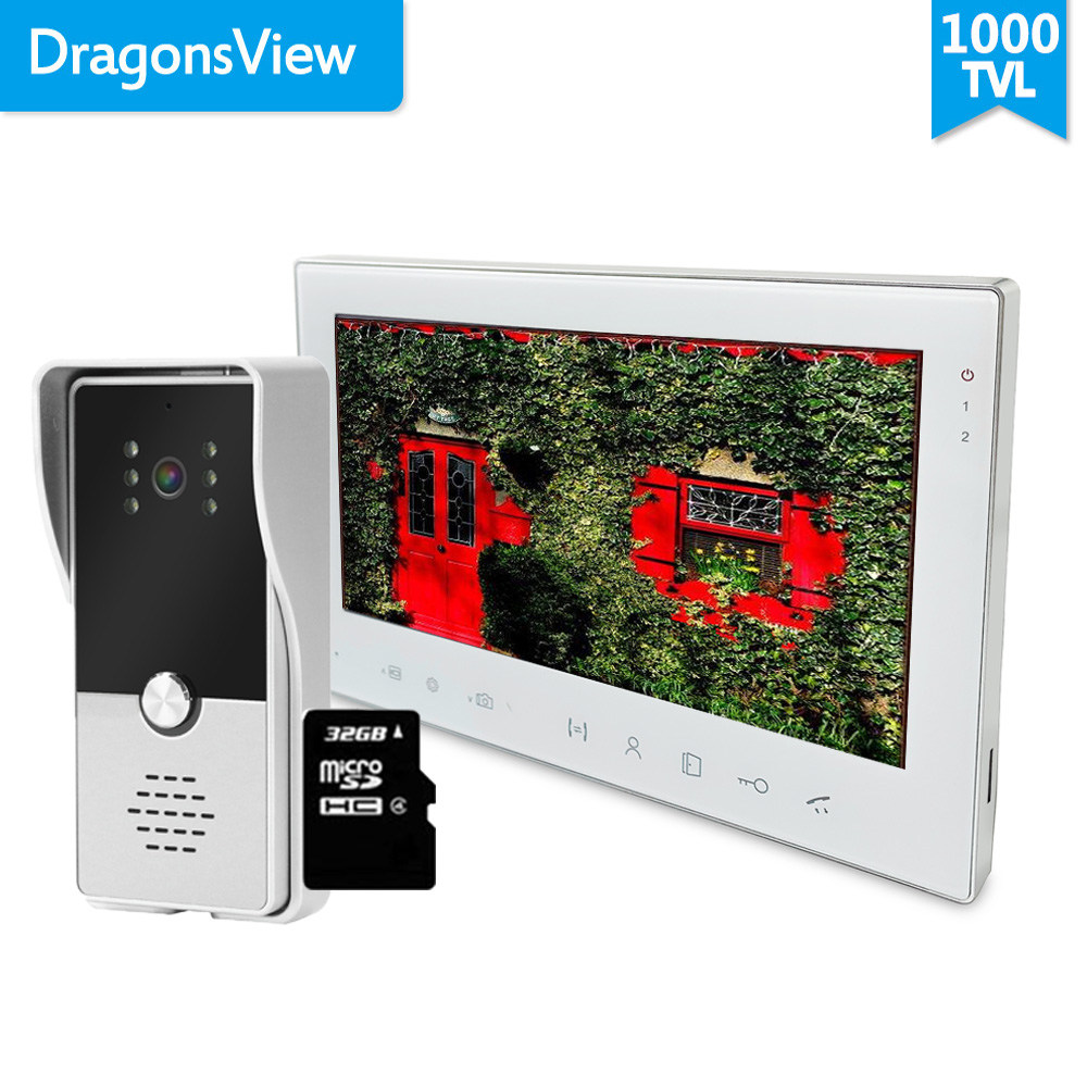 Dragonsview Video Door Phone Doorbell Camera Wired Home Intercom System 7 Inch Record Waterproof Day Night Vision Ringtones