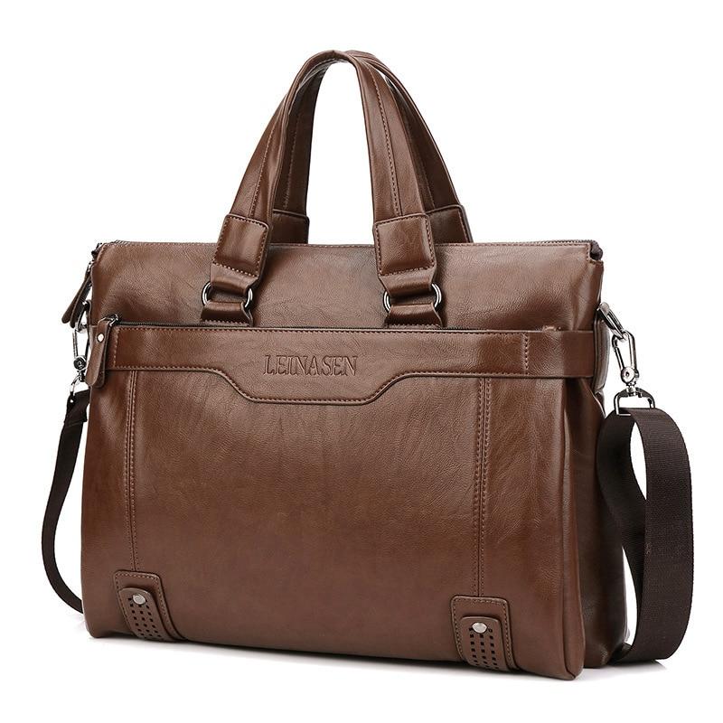 Men's Briefcase 14 Inch Pc Pocket Handbags Casual Leather Laptop Bags Male Business Travel Messenger Bags Crossbody Shoulder Bag