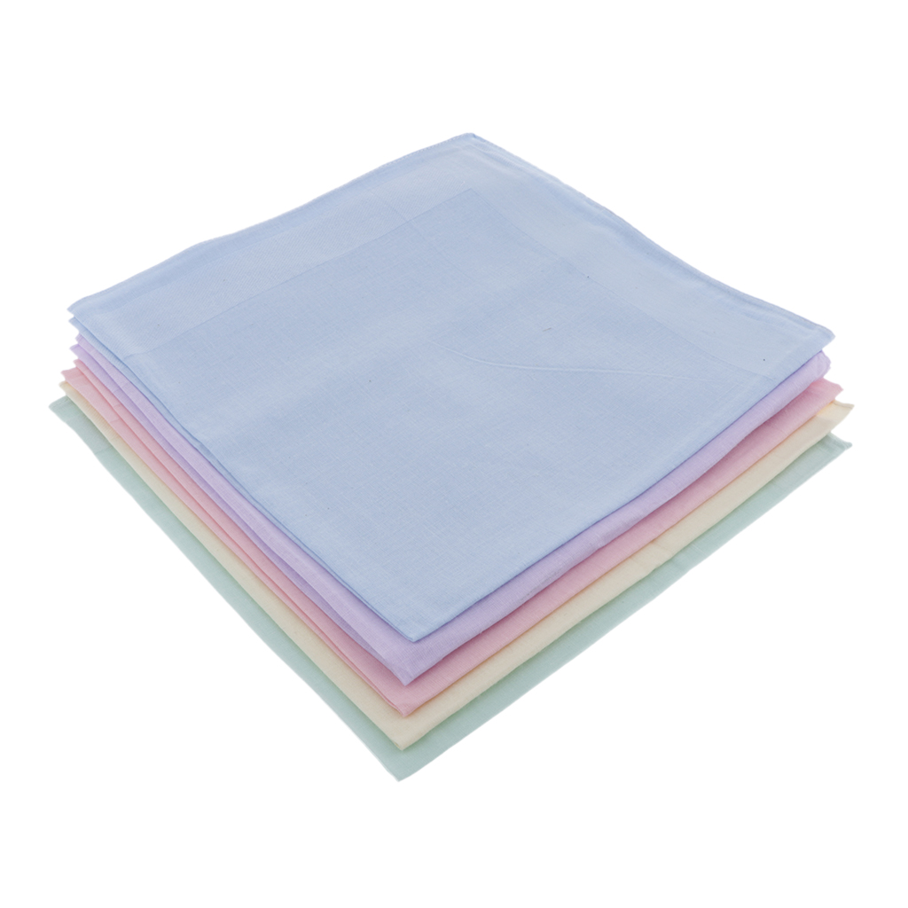 5pcs Cotton Handkerchiefs Small Tissues - Pink + Yellow + Green + Blue + Purple Soild Color Kids Towel Women Light Color Handker