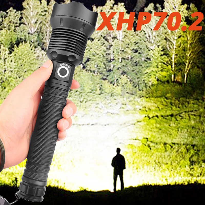 Most powerful 120000 lumens XHP70.2 led flashlight usb Zoom Tactical torch xhp50 18650 or 26650 Rechargeable battery hand light