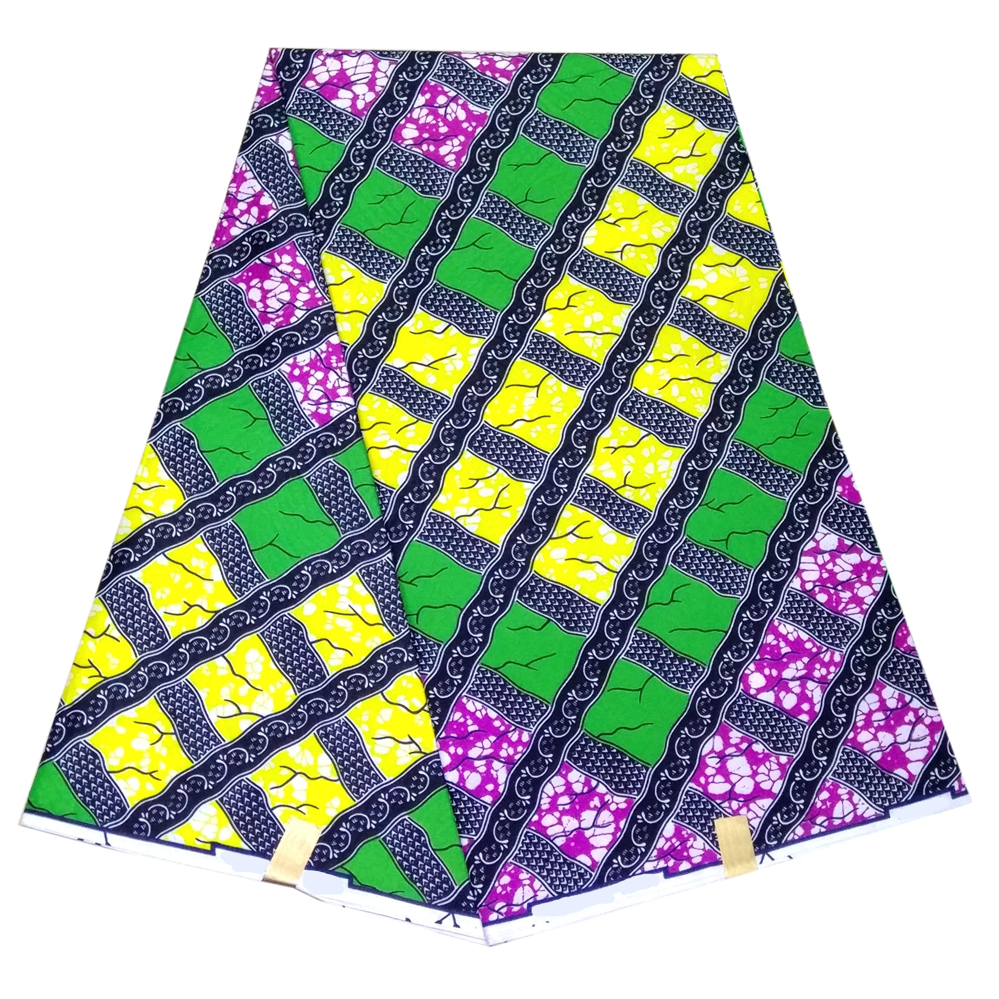 High Quality African Fabric Real Veritable Wax 6 Yards/lot Guaranteed Dutch Wax Kwanzaa Grid Print Fabric