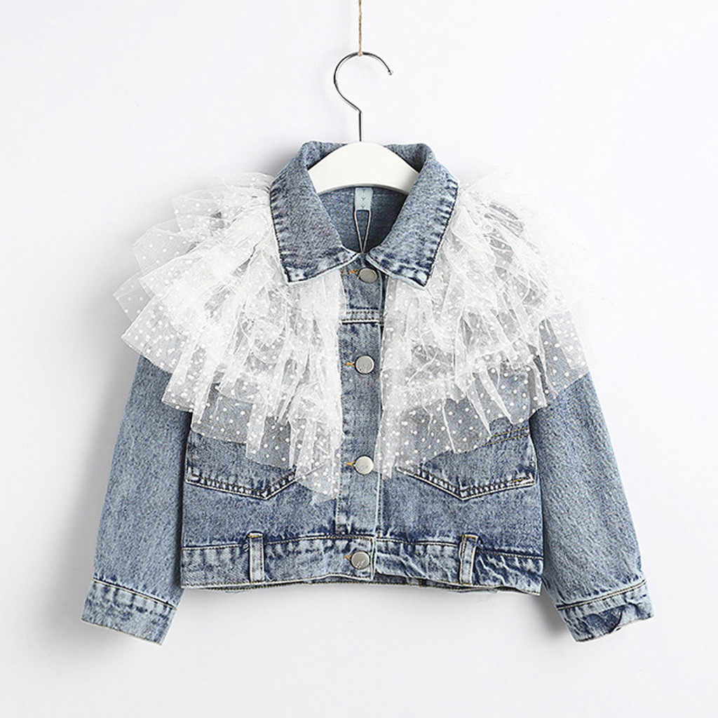 2020 New Girls Denim Jacket Cardigan Coat Lace Kids Jean Outwear Long Sleeve Autumn Children Clothing Spring Girls Clothes 1T-5T