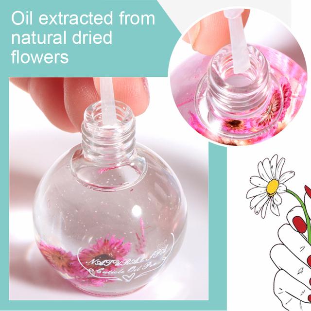 15ml Dried Flowers Nail Softener Nutritional Oil Cuticle Revitalizer Polish Repair Nail Skin Protector Treatment Nail Art Care