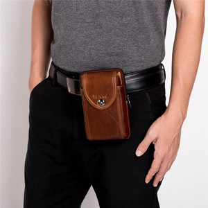 Image 2 - New Leather Mini Messenger Bags for Men Retro Business Office Small Shoulder Bag Casual Wallet Mini Travel Phone Pouch #40
