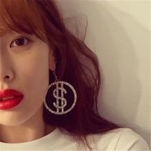 Women Female Vintage Long Big Dangle Drop Earrings Fashion Hyperbolic Dollar $ Zircon Metal Earrings Jewelry Wholesale-MS-W17