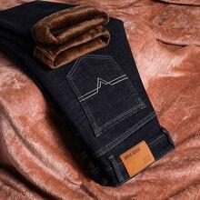 Marke Herren Winter Stretch Verdicken Jeans Warme Fleece Hohe Qualität Denim Biker Jean Hosen Hosen Größe 28 40