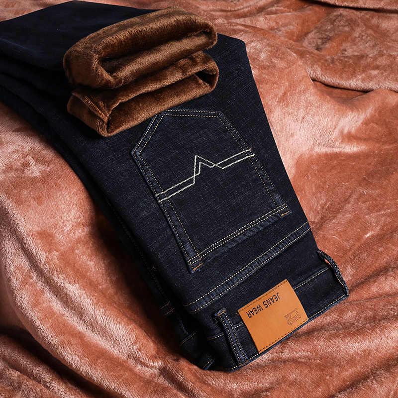 Merk Mens Winter Stretch Thicken Jeans Warme Fleece Hoge Kwaliteit Denim Biker Jean Broek Broek Maat 28-40