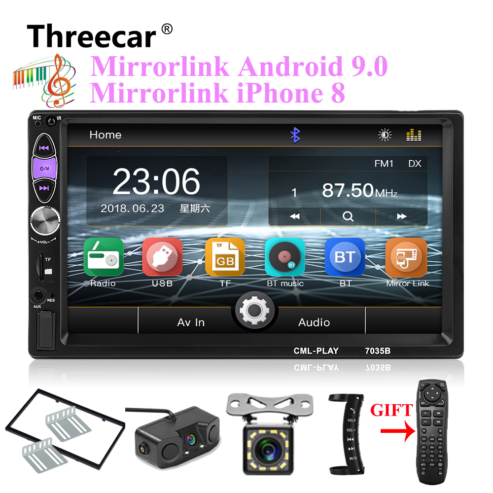 mirror link Android 9 0 car radio 2din MP5 player subwoofer Bluetooth handsfree FM USB rearview