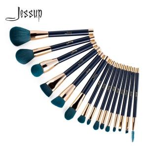 Image 1 - Jessup pincéis de maquiagem conjunto 15 pçs azul/roxo pó sombra delineador contorno fundação cosméticos pincel maquiagem dropshipping